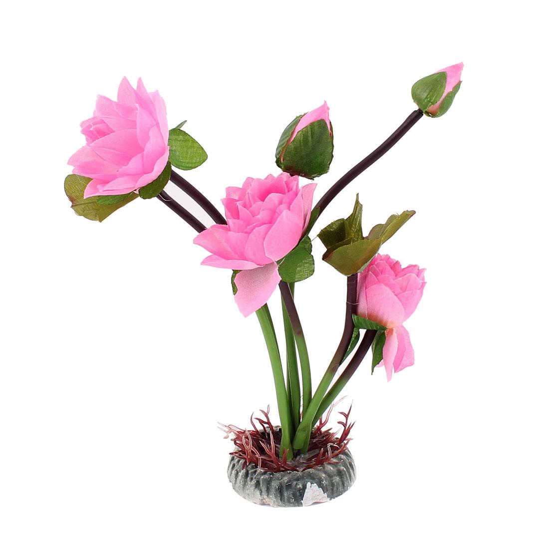 Aquarium Fish Tank Lotus Flower Decoration Ornaments Pink