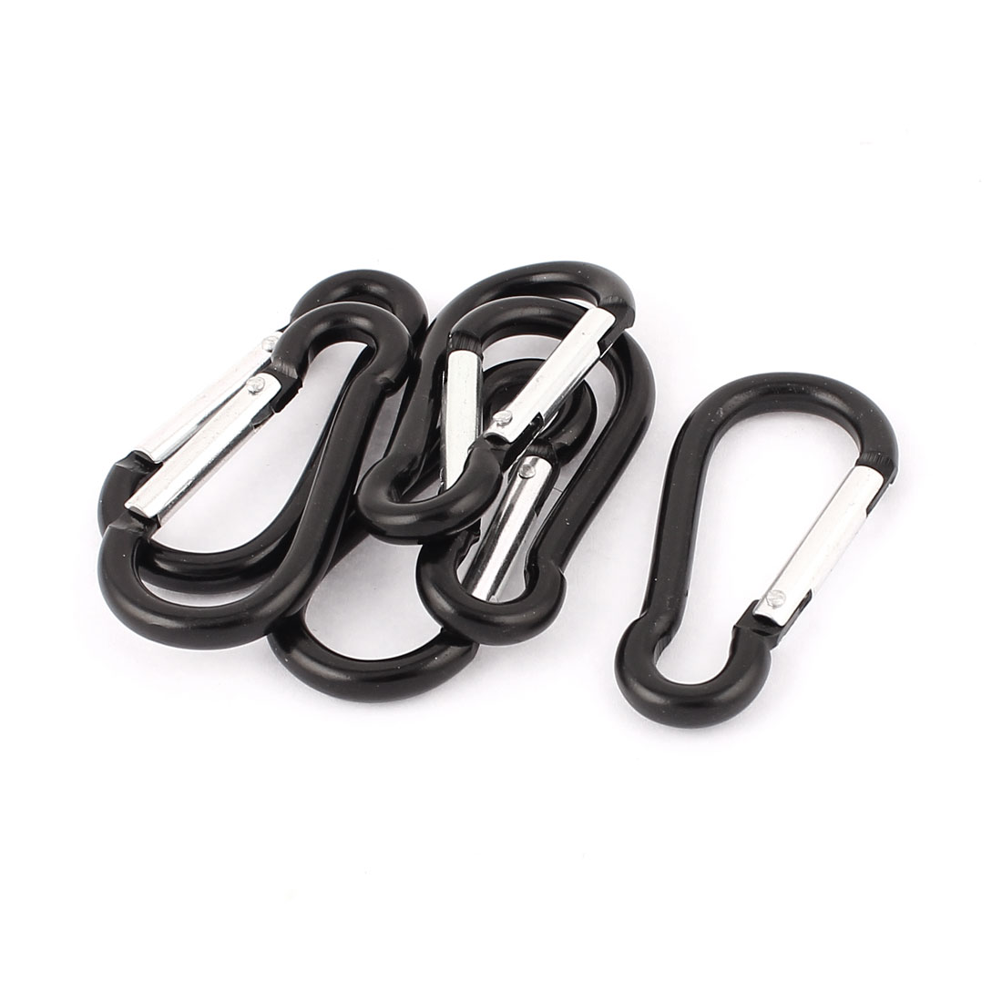Camping Tracveling Aluminum Alloy Carabiner Grab Hook Clip Holder Black 6 Pcs