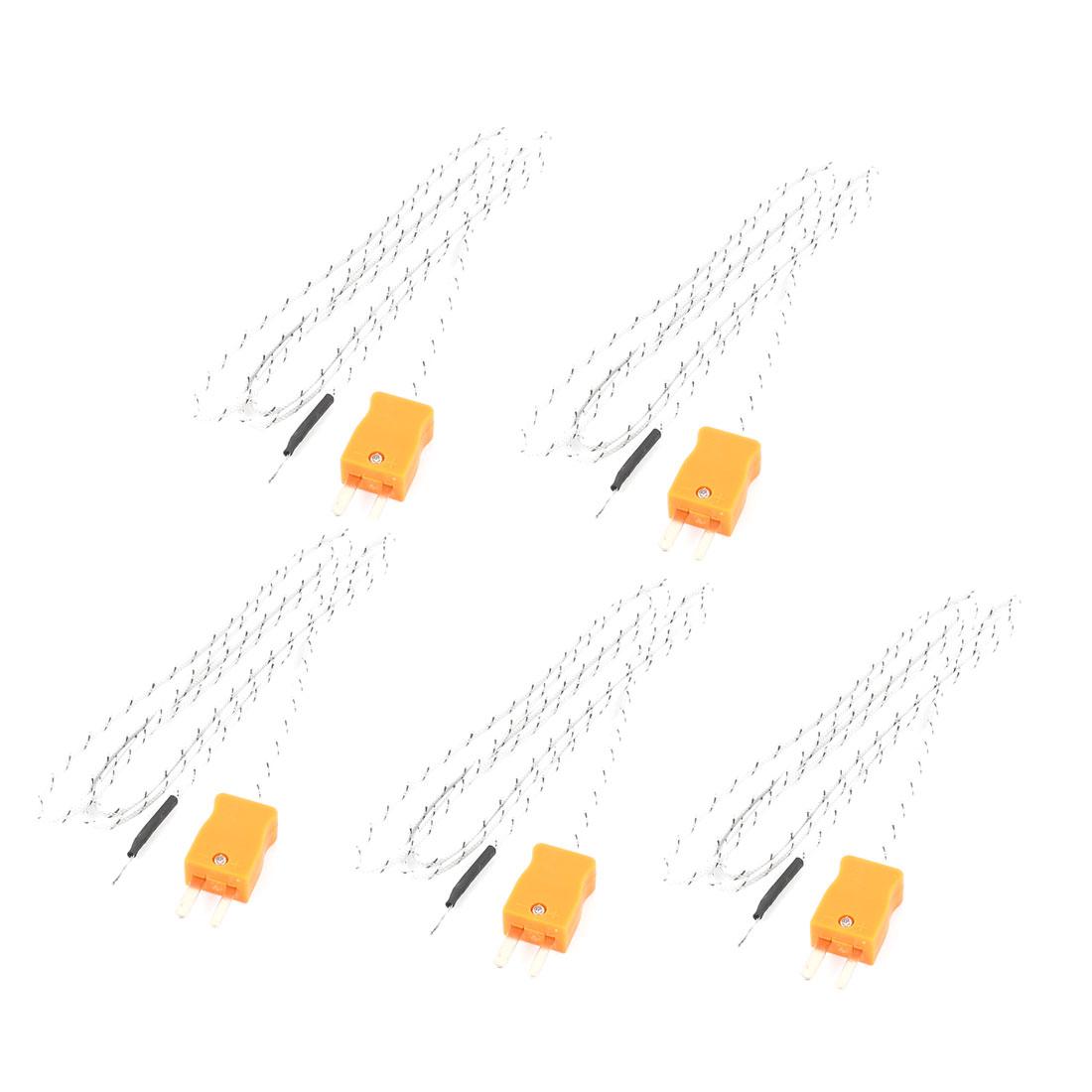 1M 2-Wire K Type Thermocouple Temperature Measuring Probe Sensor 5 Pcs