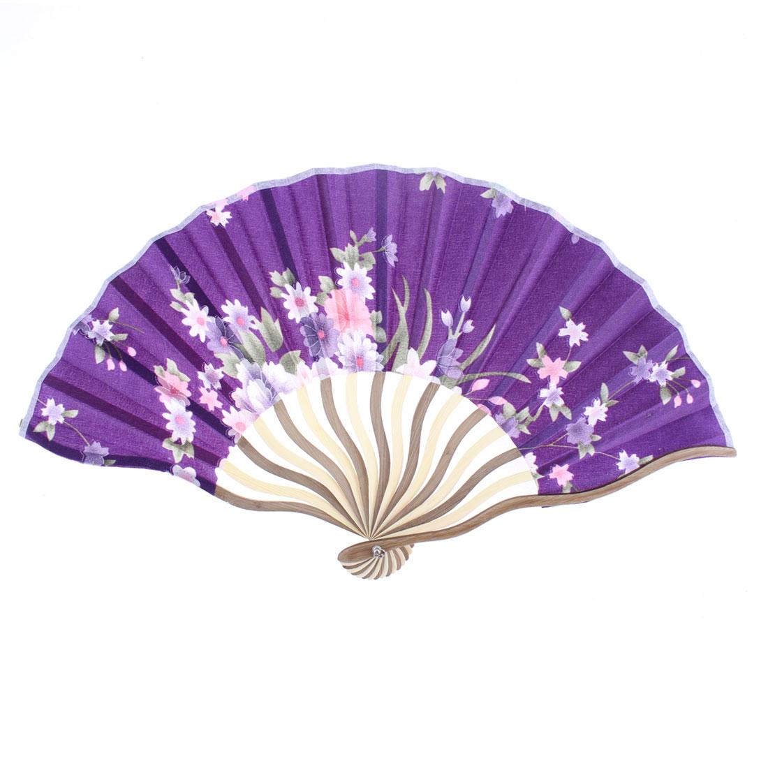 Party Dancing Bamboo Wavy Frame Flower Pattern Folding Hand Fan Purple