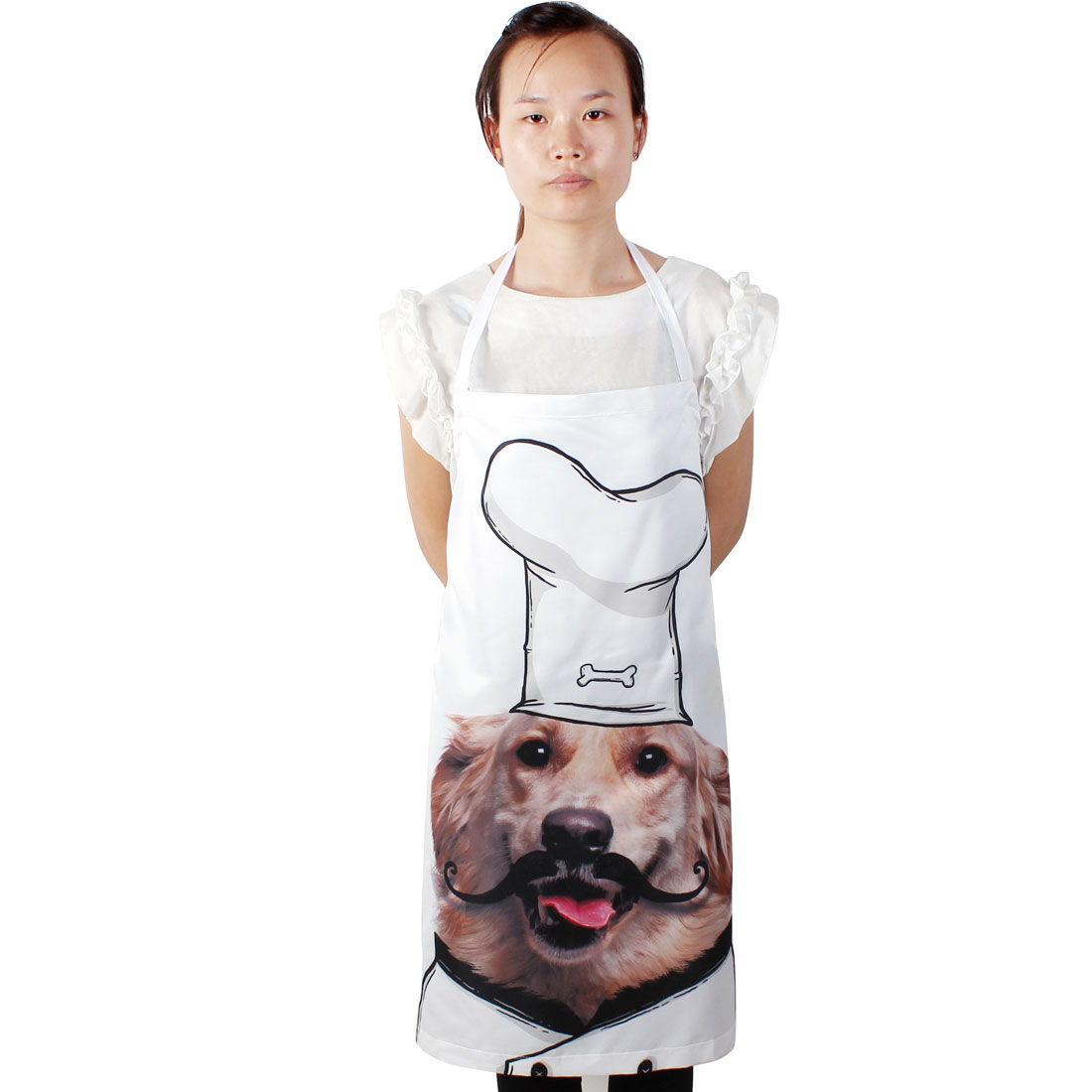 Restaurant Household Kitchen Dog Printed Cooking Apron Bib Dress White