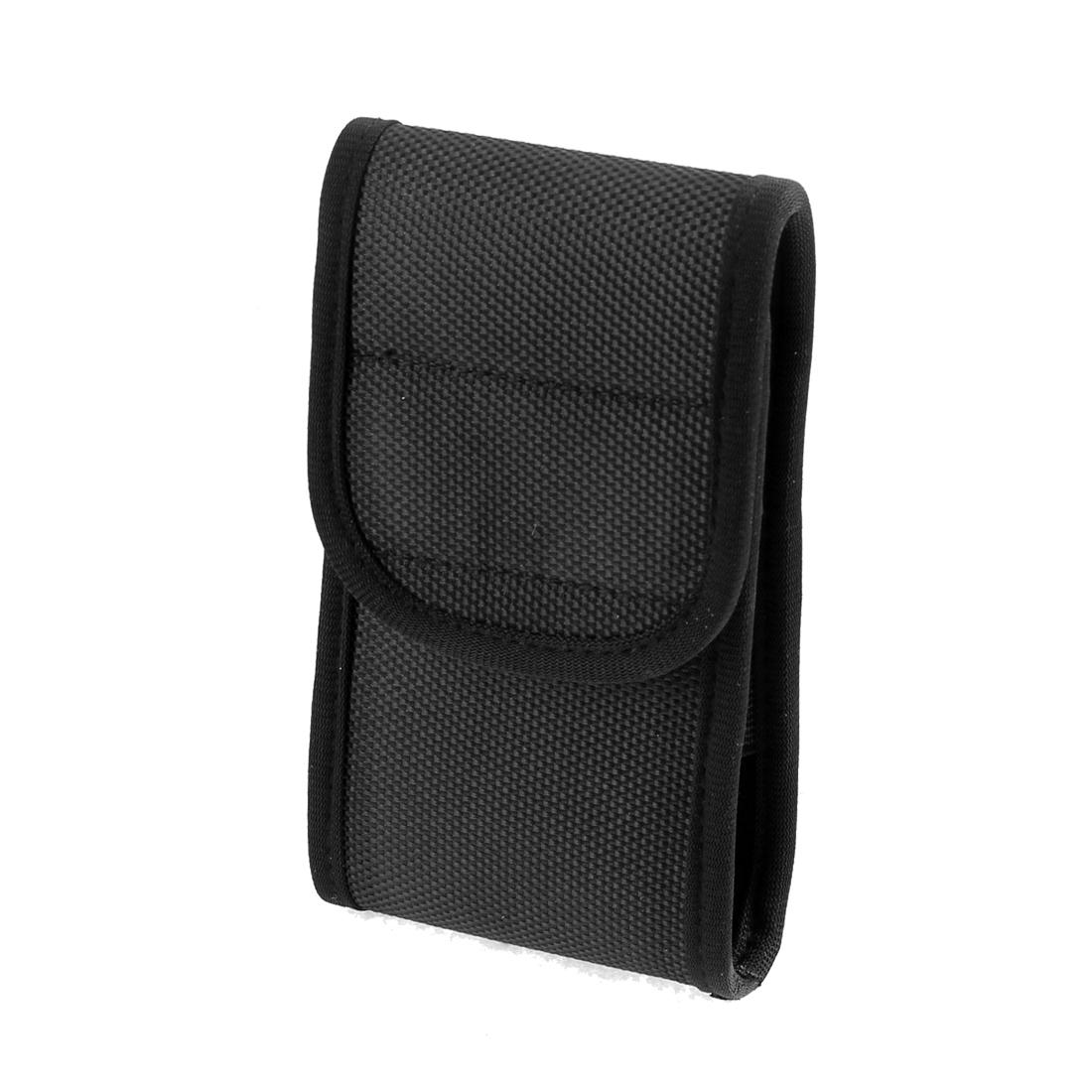 Rectangle Shaped Pouch Waist Belt Hook Loop Closure Mobile Phone Bag Pocket Holder Black