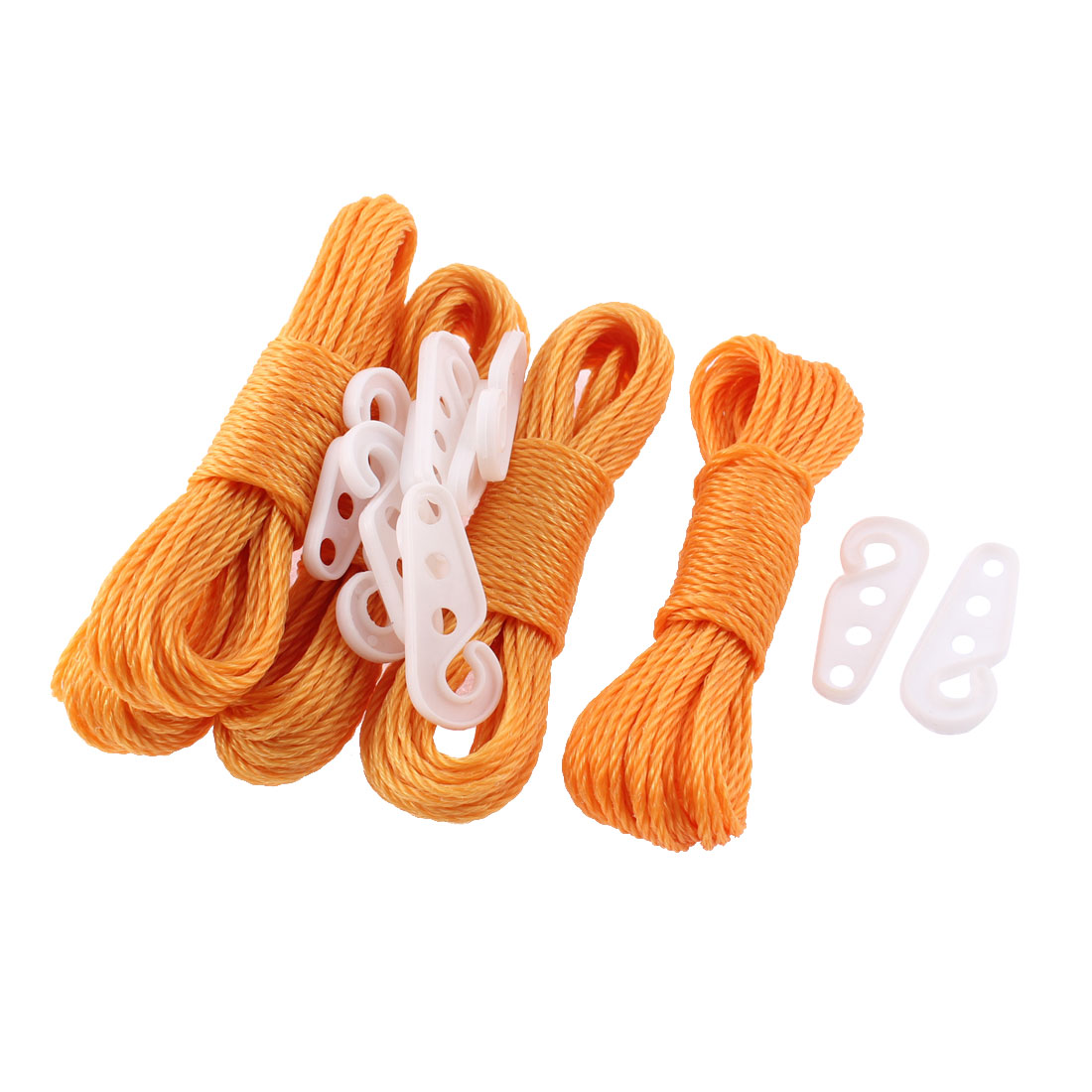 Outdoor Nylon Braided Hanging Laundry Clothes Rope 10 Meters Orange 5 Pcs