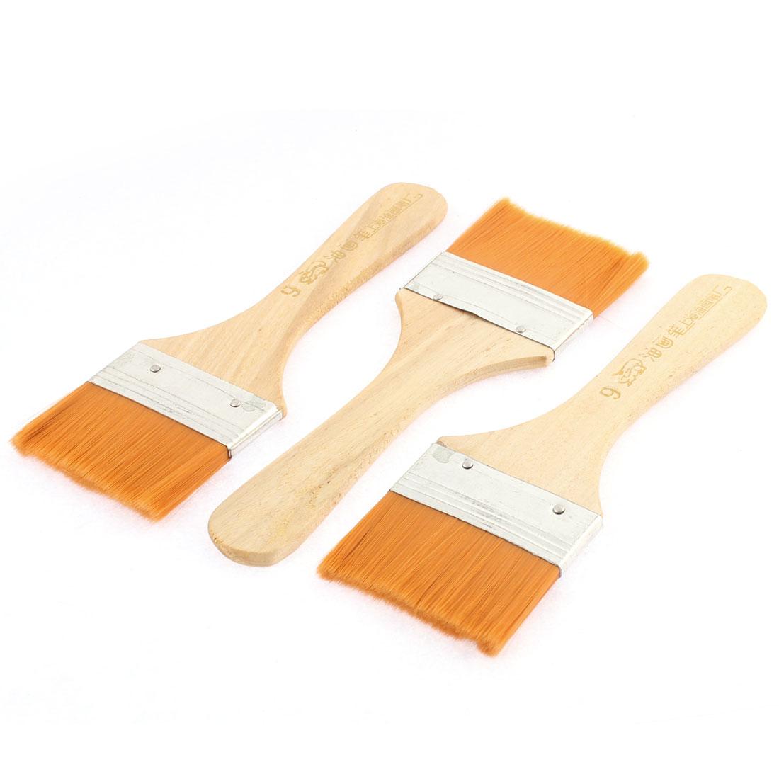 3 Pcs Wooden Handle 55mm x 30mm Bristles Head Oil Paint Painting Brushes