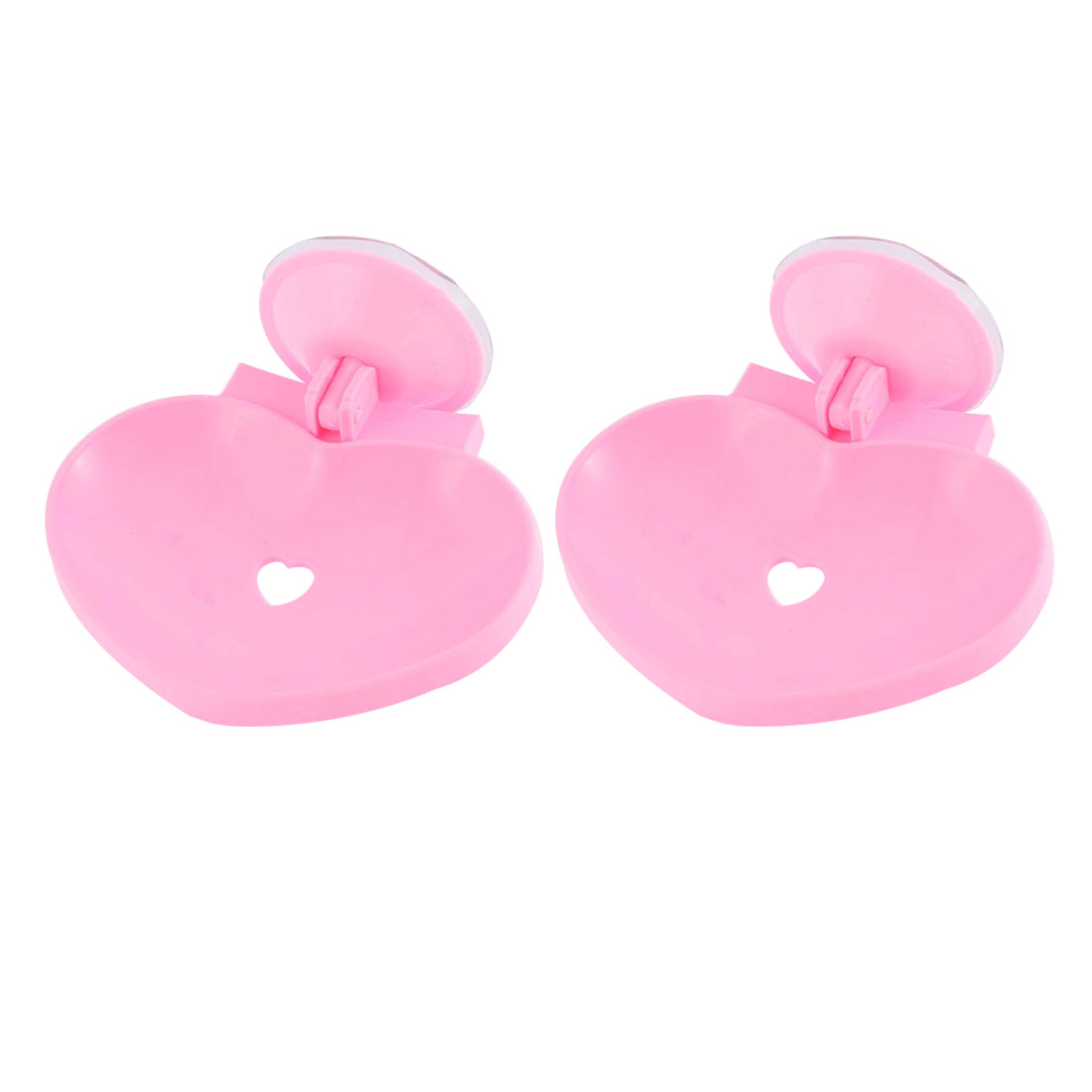 Household Plastic Heart Shape Hollow Out Suction Cup Soap Holder Pink 2 Pcs