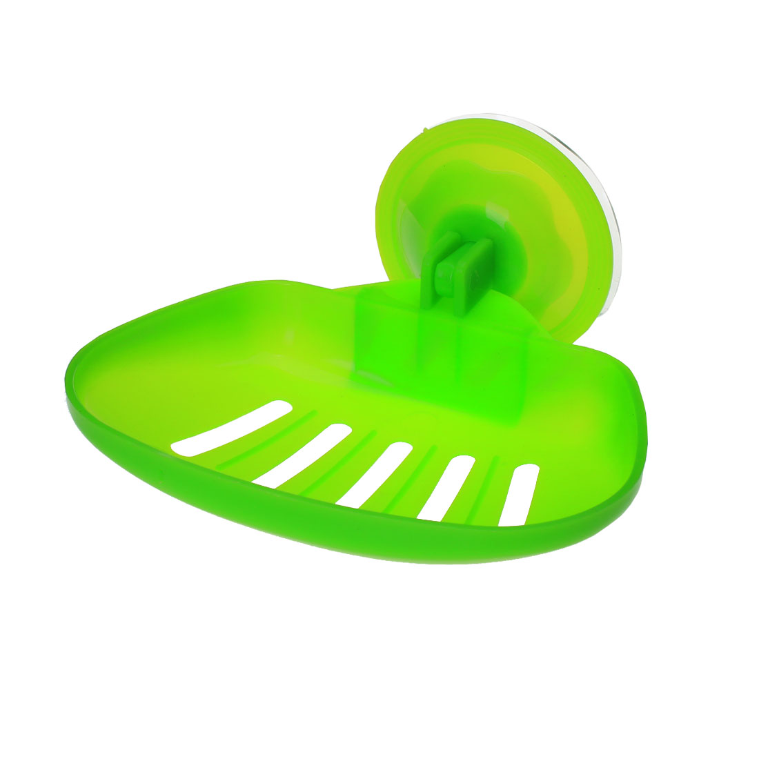 Household Washroom Wall Plastic Hollow Out Suction Cup Soap Holder Tray Green