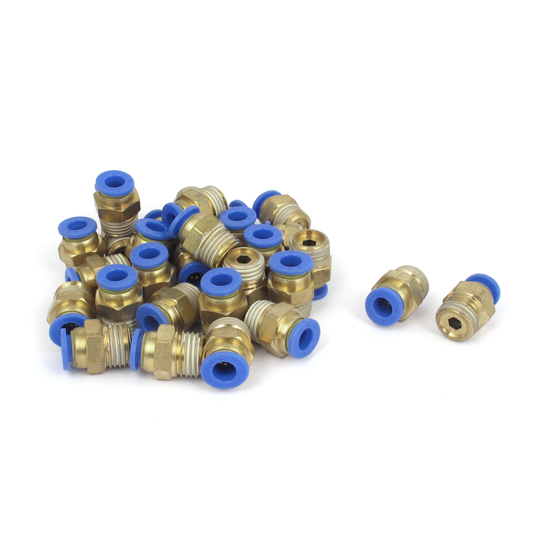 30 Pcs 1/4BSP Male Threaded 6mm OD Tube One Touch Push in Quick Connect Fittings