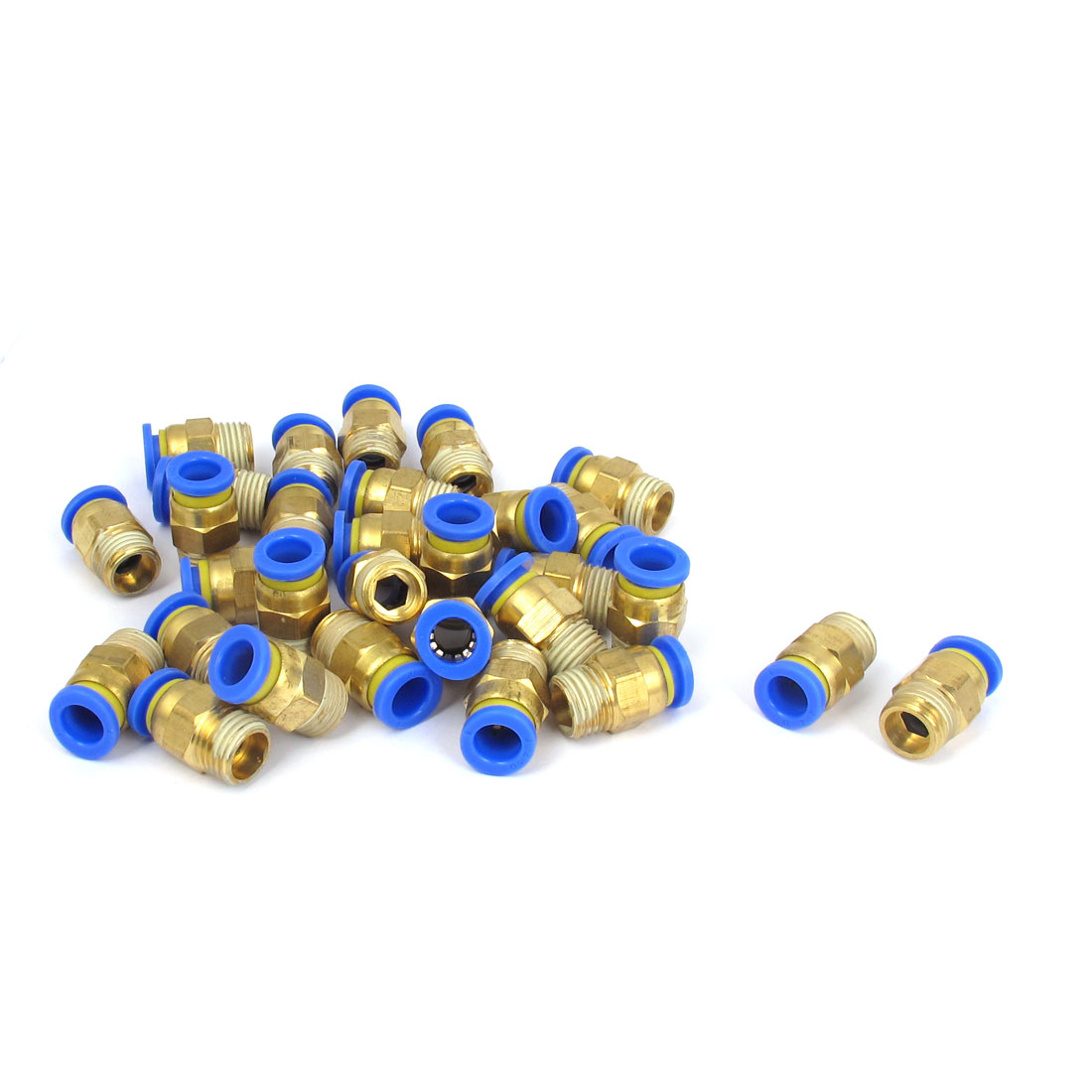 30PCS 1/4SBP Male Thread to 8mm Tube Push in Connect Straight Quick Fittings