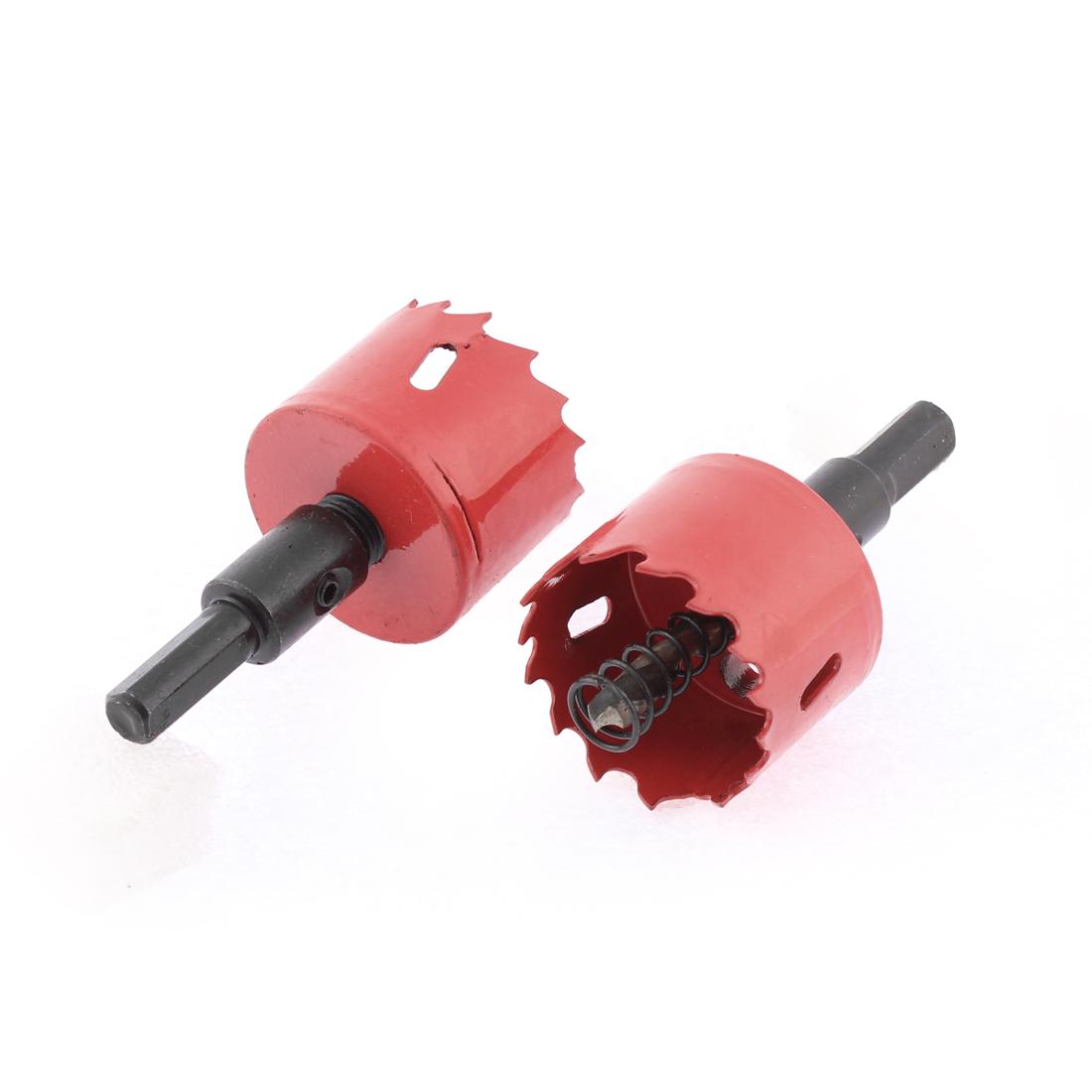 40mm Dia Twist Drill Bit BI Metal Hole Saw Cutter 2 Pcs for Aluminum Iron Wood