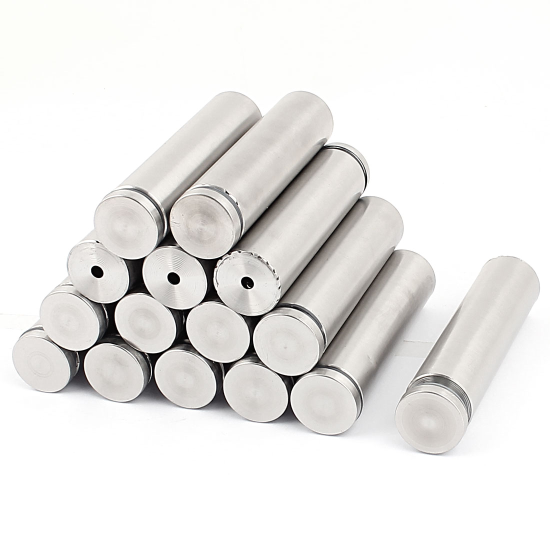 15 Pcs 25mm x 100mm Silver Tone Stainless Steel Standoff Hardware for Glass