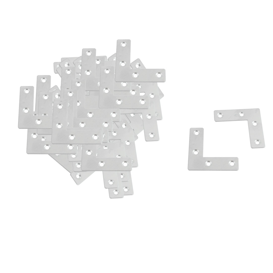 50 Pcs 50mm x 50mm Stainless Steel Angle Plate Corner Brace Flat L Shape Repair Bracket