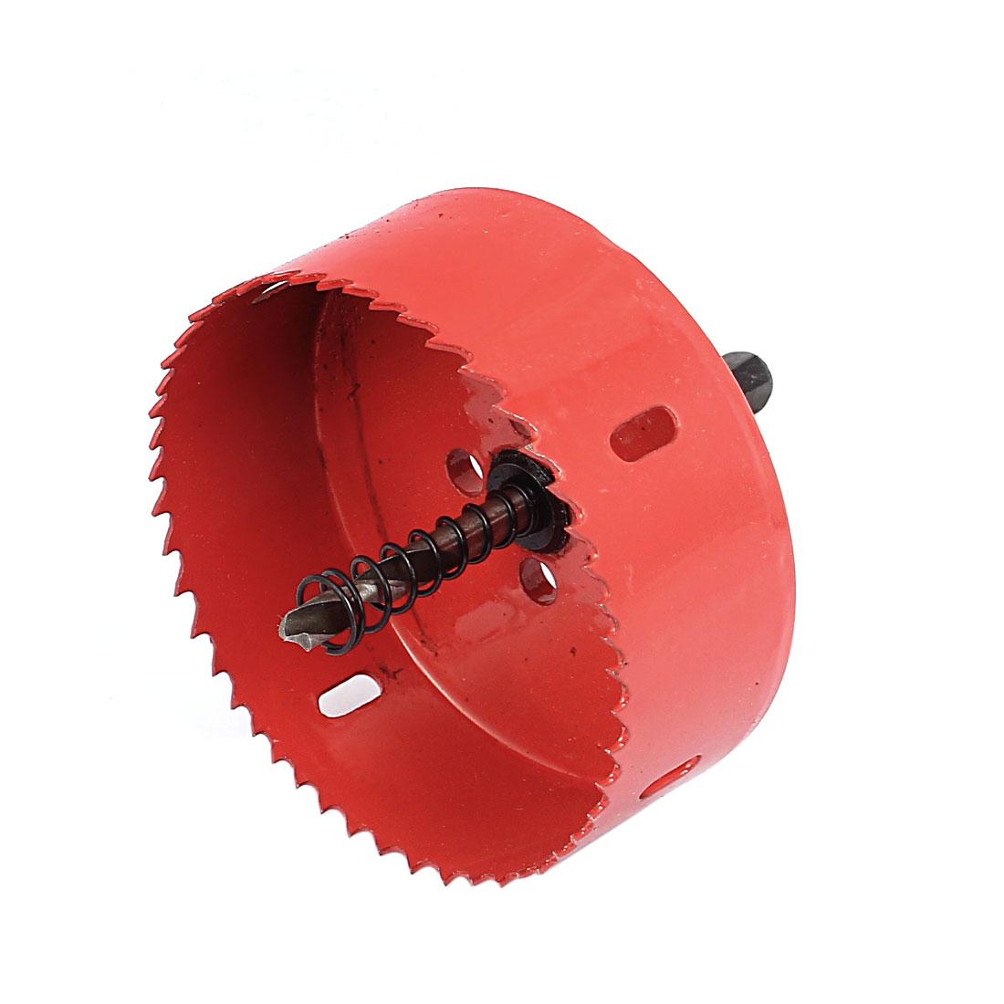 90mm Cutting Dia 10mm Shank Twist Drill Bit Bimetal Hole Saw Cutter Tool Red