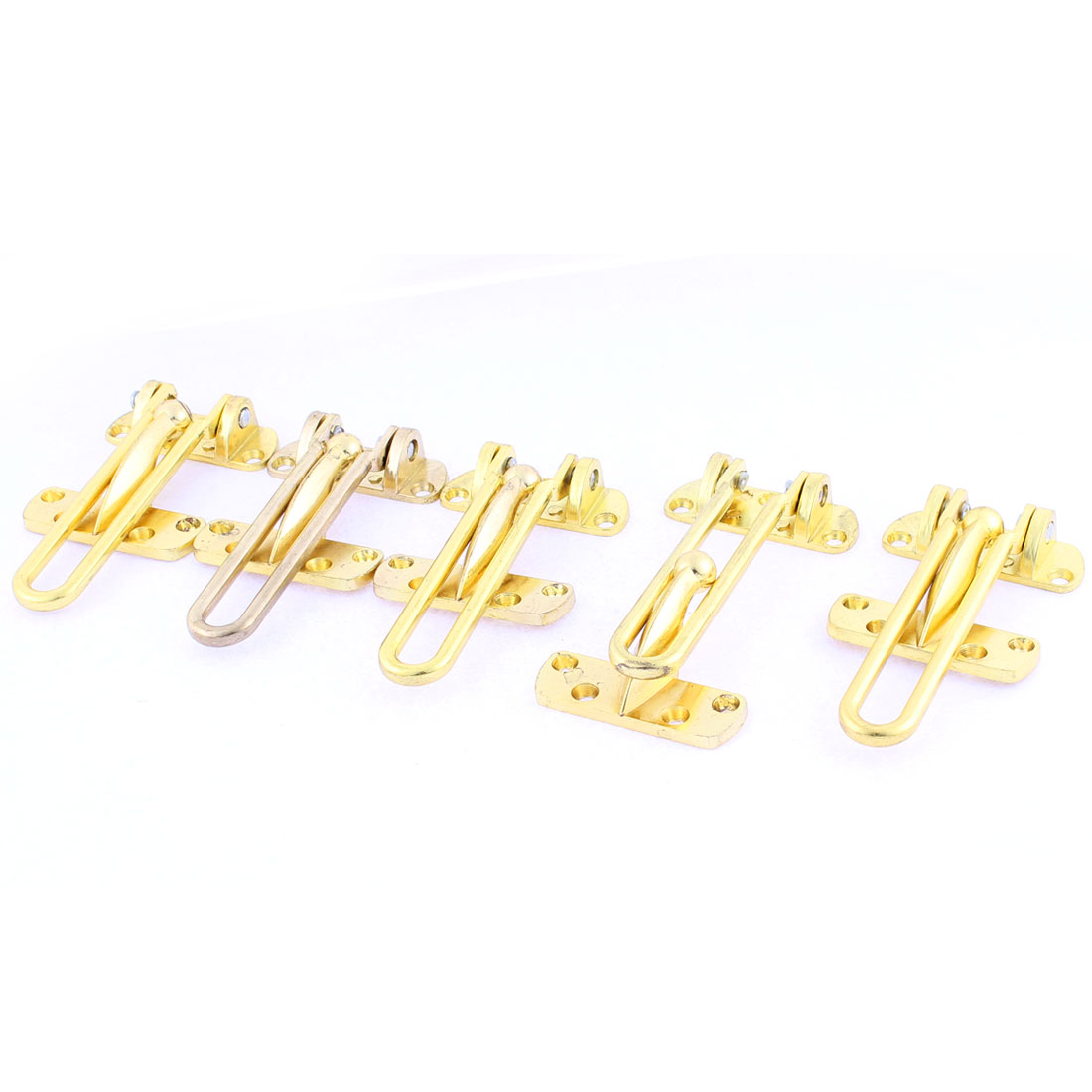 5 Pcs Home Metal Swing Arm Door Security Chain Locking Guard Latch Gold Tone