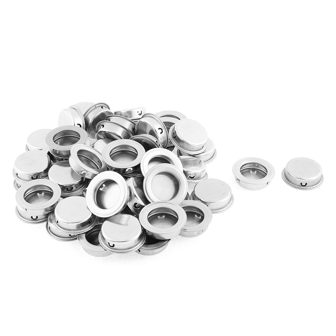50pcs Stainless Steel Round Flush Pulls Drawer Slide Door Concealed Handle 40mm
