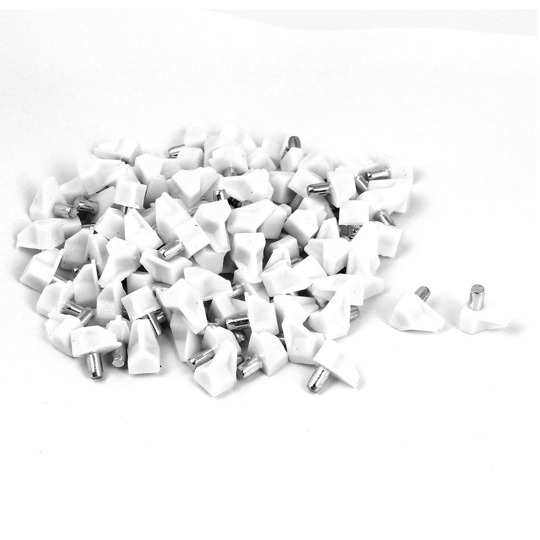 100pcs White Plastic Shelf Support Holder Studs Pins 5mm for Kitchen Cabinet
