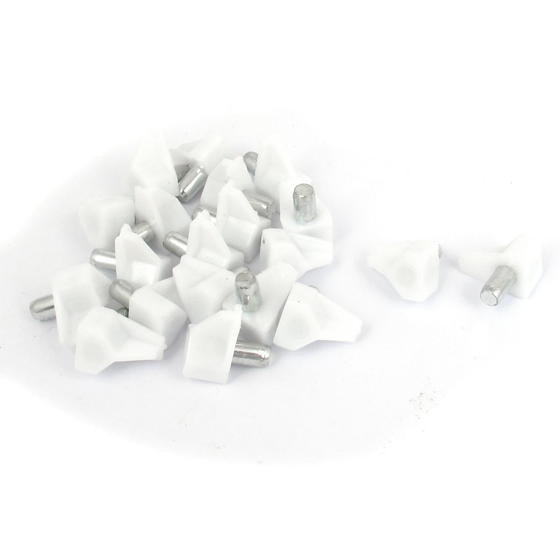 20 Pcs 5mm Dia Pin White Plastic Shelf Support for Kitchen Cabinet Shelves