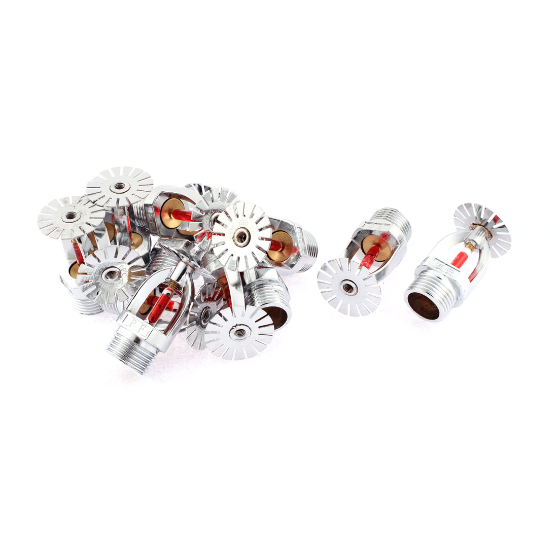 12 Pcs Red Bulb Silver Tone 21mm Male Thread Water Spraying Fire Sprinkler Head