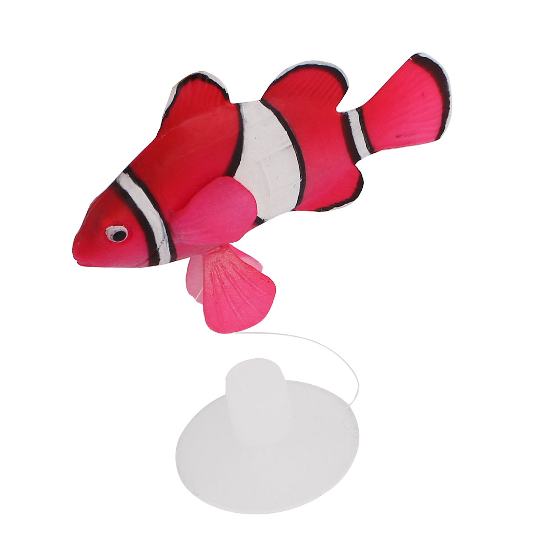 Fish Tank Aquarium Pink Silicone Artificial Floating Clownfish Decor w Suction Cup