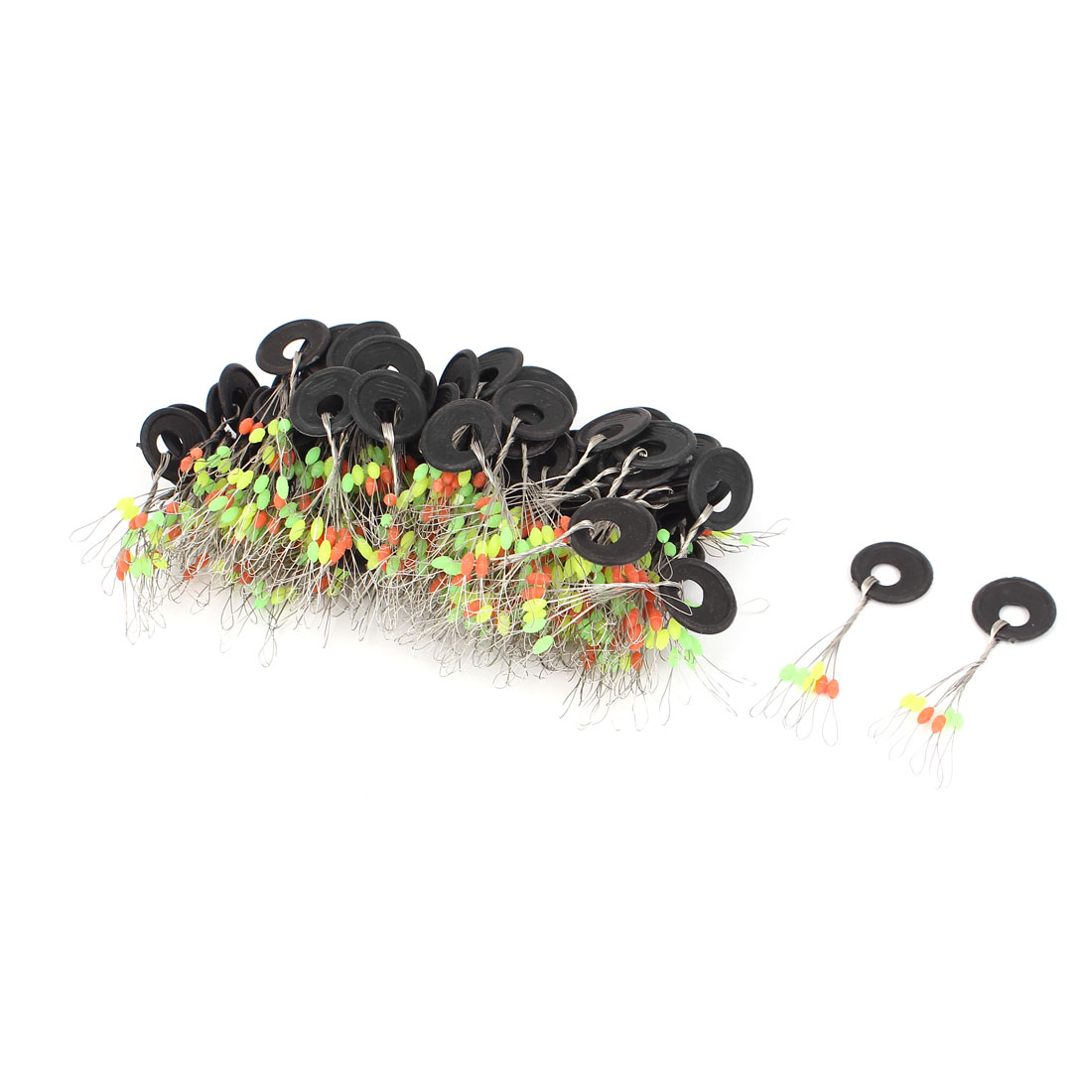 100pcs 6 in 1 Design Size S Colorful Rubber Oval Bead Fishing Bobber Stopper Floater Float Fish Tackle