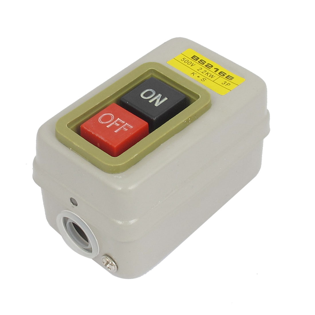 BS216B 3P 500V 2.2KW 6 Screw Terminal Self Locking ON/OFF Control SPST Power Push Button Pushbutton Switch