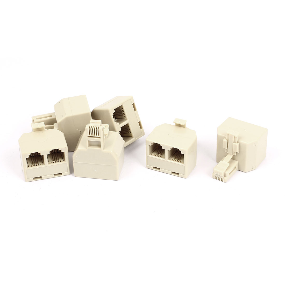 6pcs Beige Plastic Shell RJ45 6P4C Male to 2 Female Telephone Extension Connector Cable Splitter