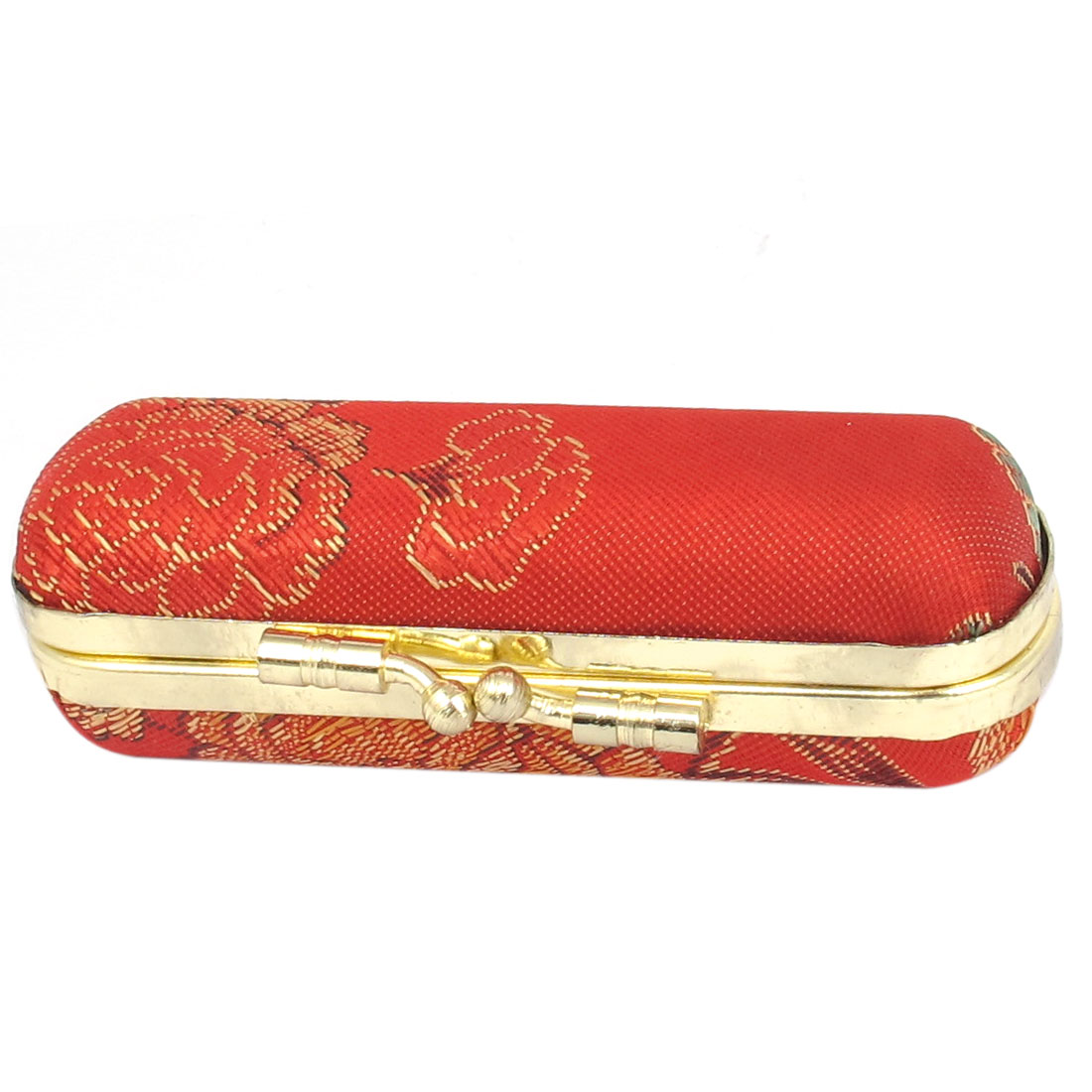 Women Kiss Lock Closure Flower Embroidered Mirror Lipstick Lip Chap Case Holder Box Red
