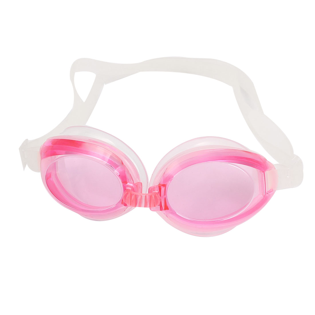 Adults Pink Plastic Frame Oval Shaped Lens Stretchy Adjustable Strap Swimming Eyeglasses Goggles w Spectacle Case