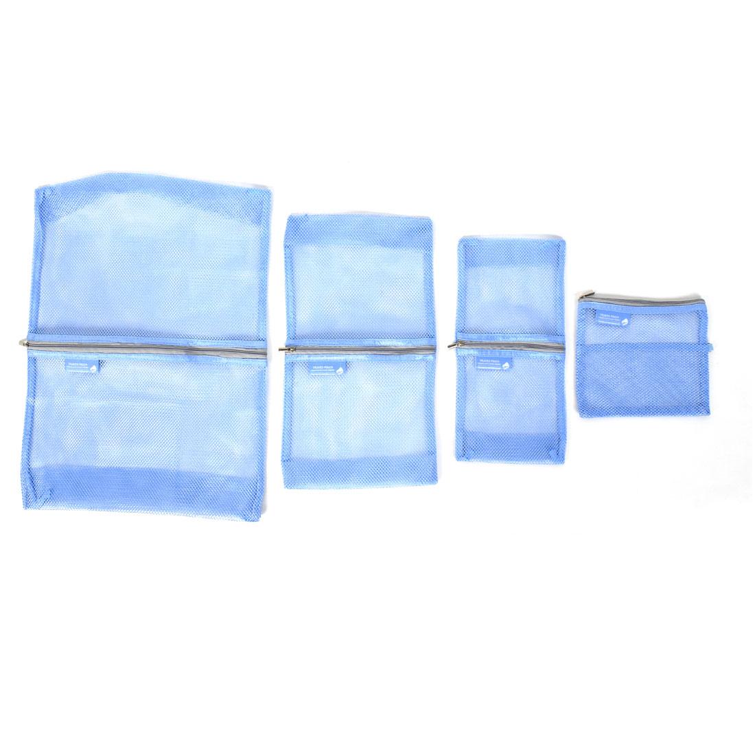 Multifunctional Travel Mesh Storage Bag Luggage Case Blue 4 in 1