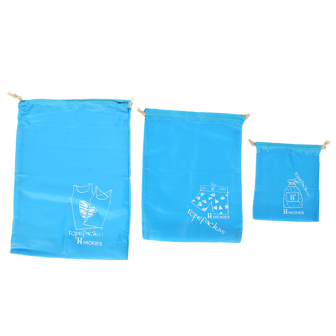 3 in 1 Travel Clothes Storage Organizer Drawstring Bags Blue