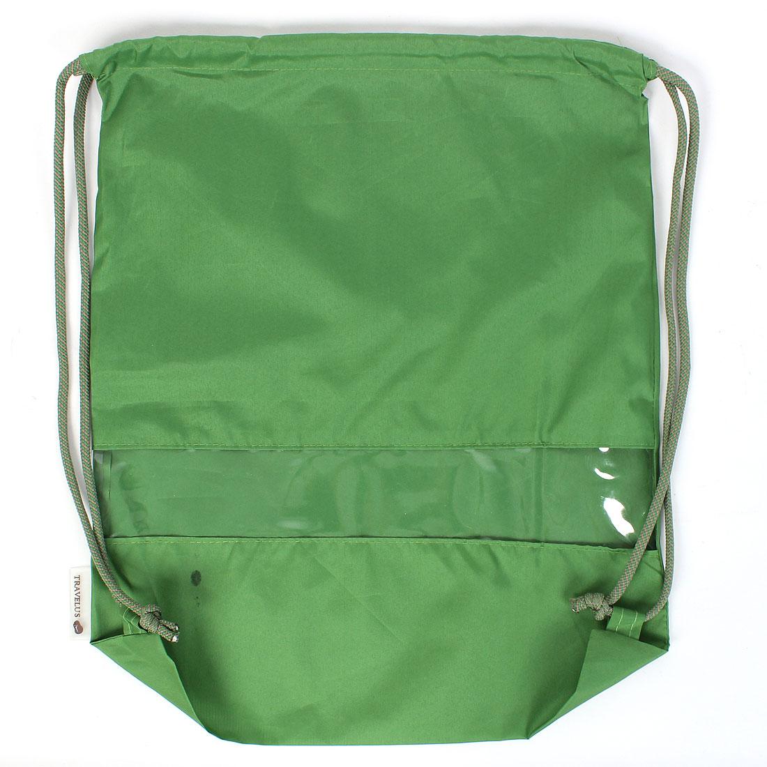 Green Nylon Drawstring Beach Gym Storage Shoulder Bag Back Pack
