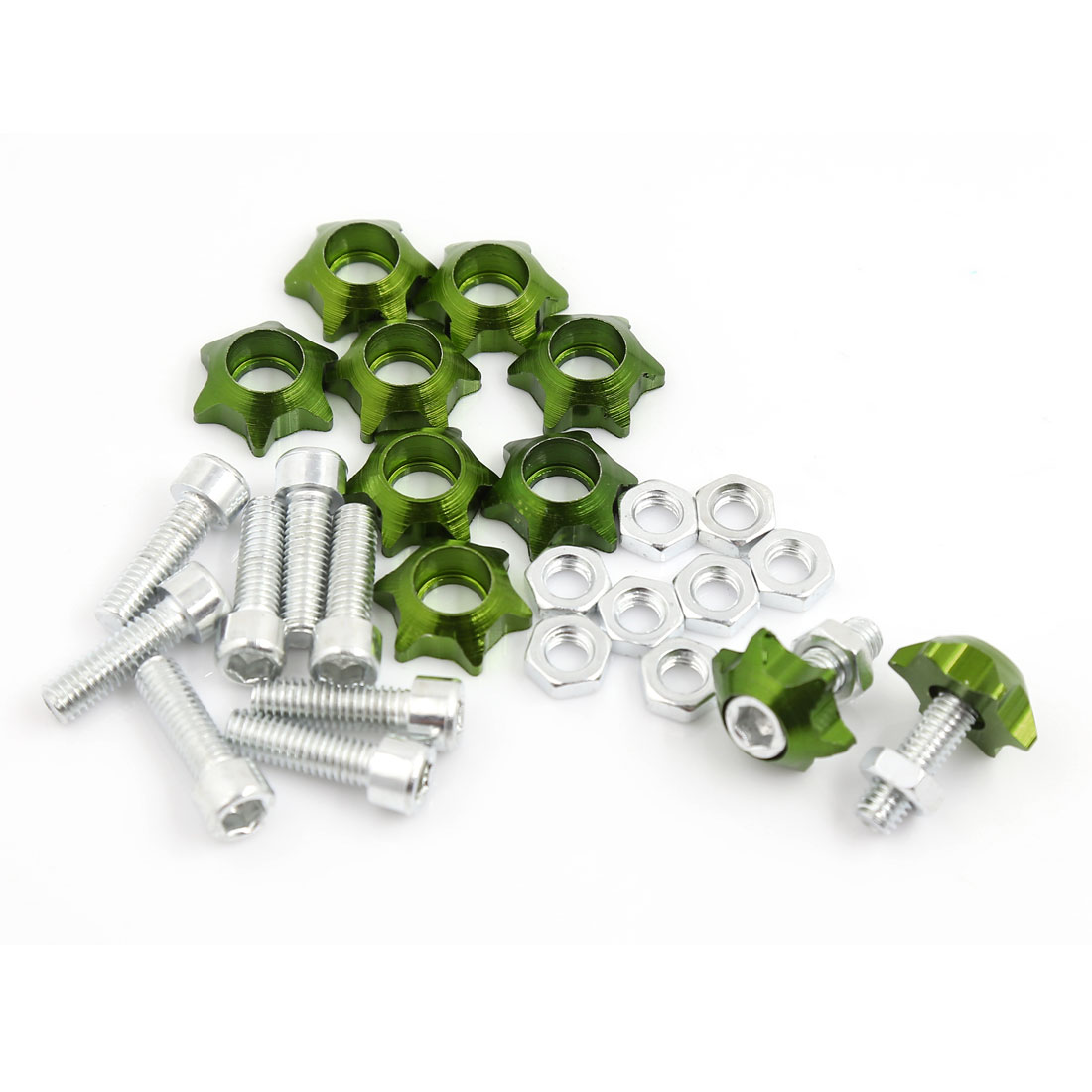 10 Pcs Green License Plate Frame Bolt Screws 6mm Thread Dia for Motorcycle Auto