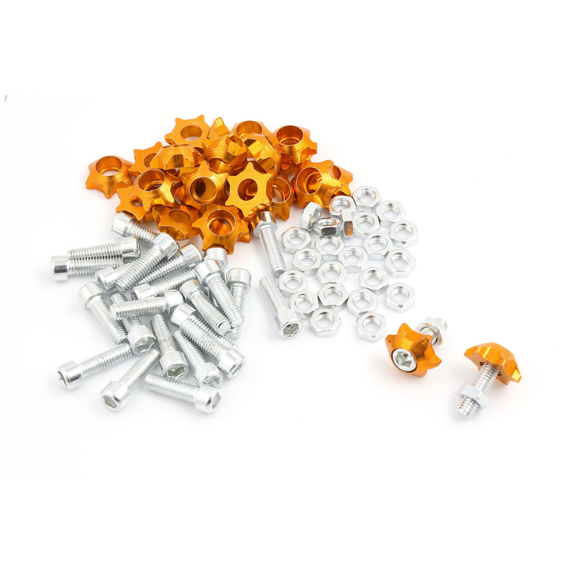 25pcs M6 Star Style License Plate Frame Bolt Screws Gold Tone for Motorcycle Truck