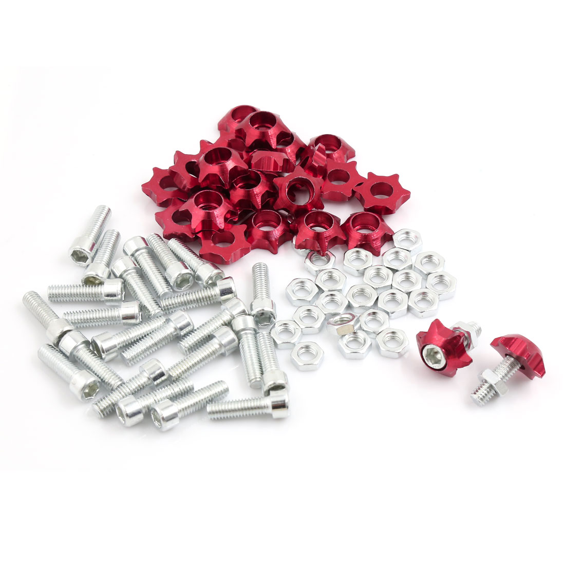 25 Pcs 6mm Thread Dia Star Shaped License Plate Frame Mounting Screws Red for Motorcycle Car