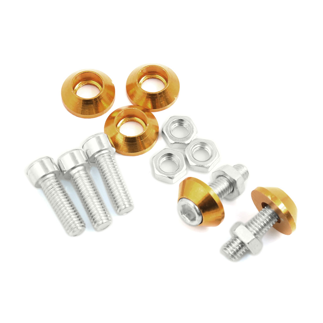 Motorbike Gold Tone 6mm Thread Dia License Plate Frame Nut Screw Decoration 5pcs