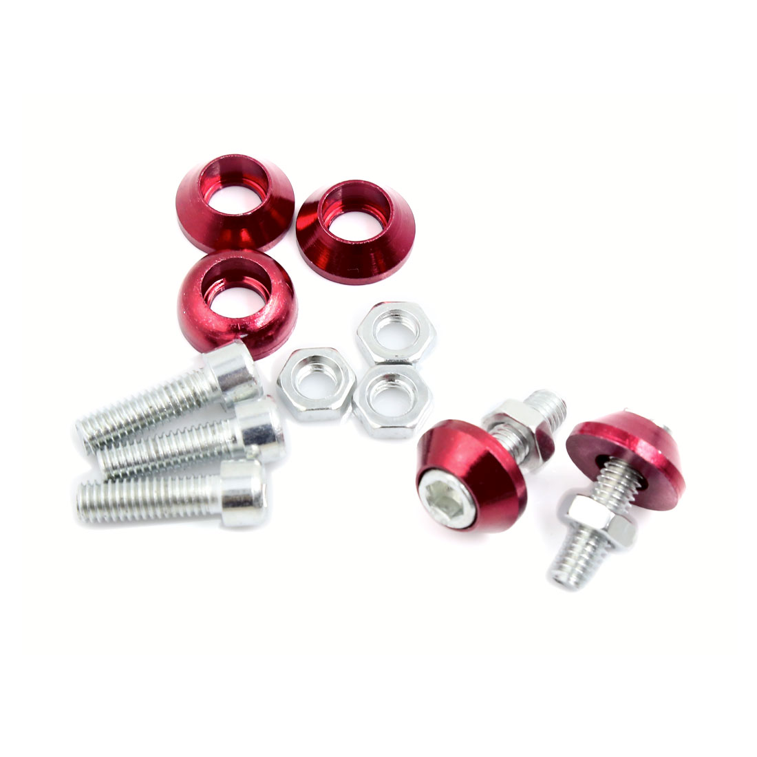 5 Pcs 6mm Thread Dia License Plate Frame Bolts Screws Red for Motorcycle Truck