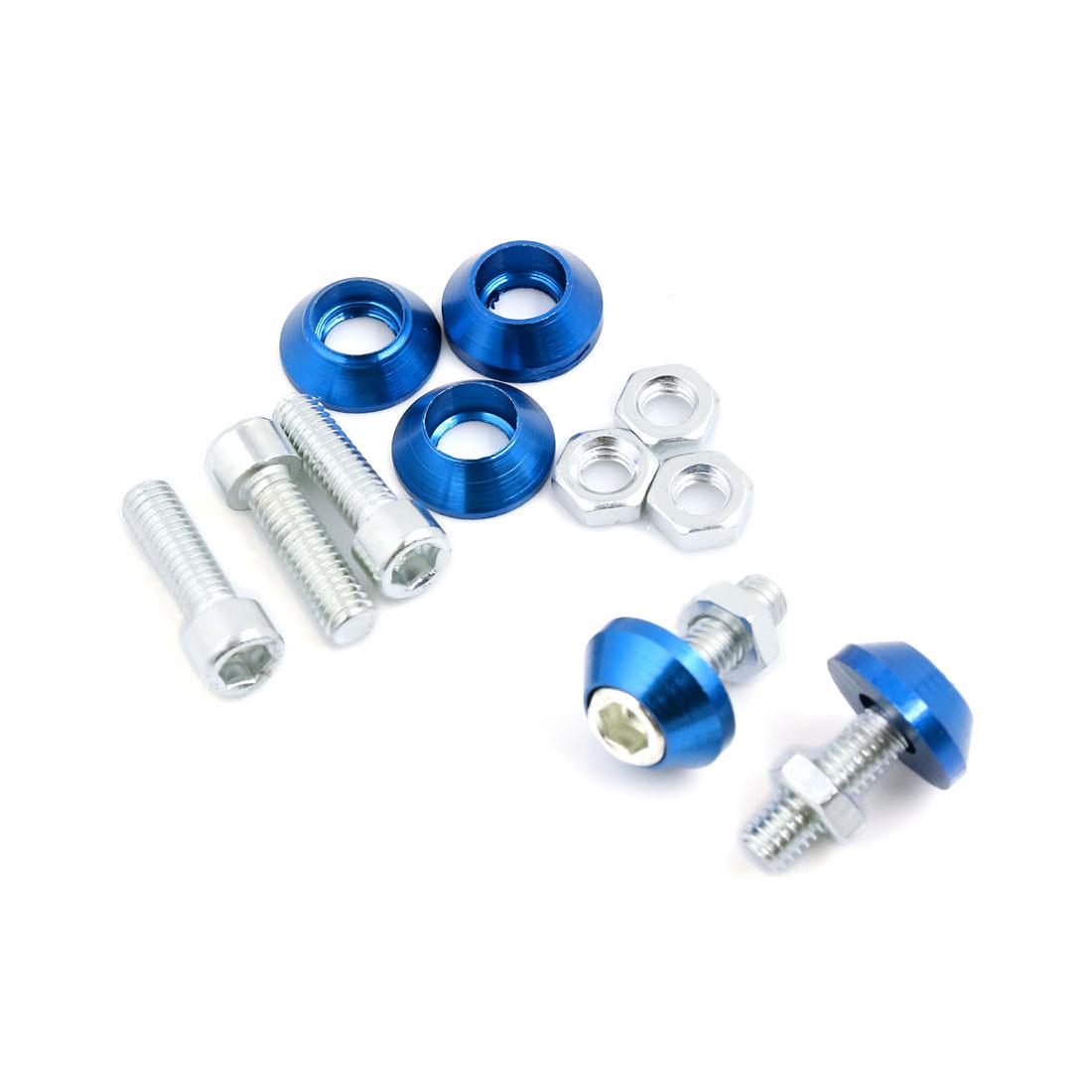 6mm Thread Dia Blue Cone Head License Plate Frame Nut Screw Ornament 5pcs