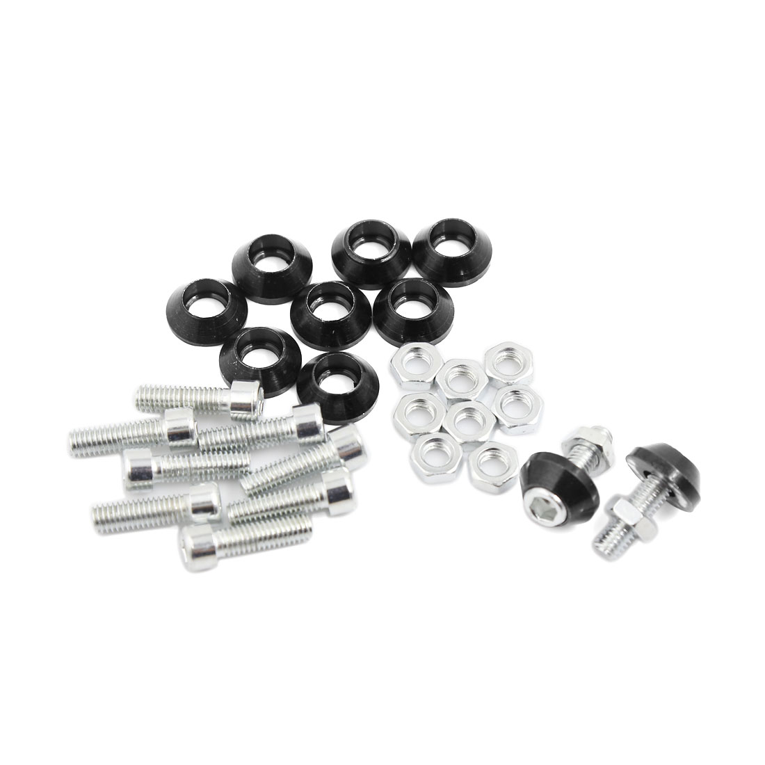 10 Pcs Black Metal Cone Head License Plate Bolt Screw 6mm Dia for Motorcycle