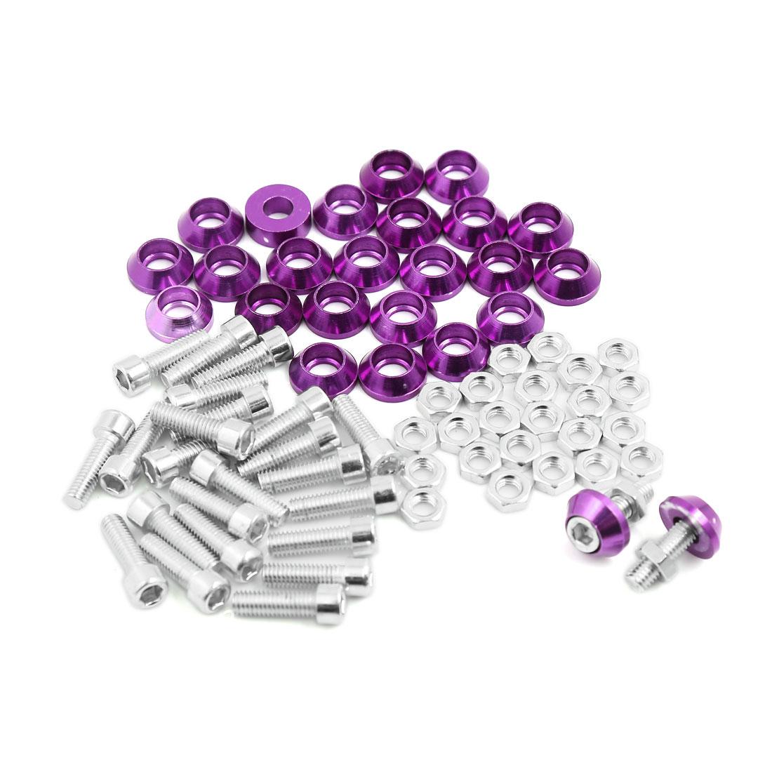 M6 Purple Metal Cone Head License Plate Frame Bolts Screws Nuts Decor 25pcs