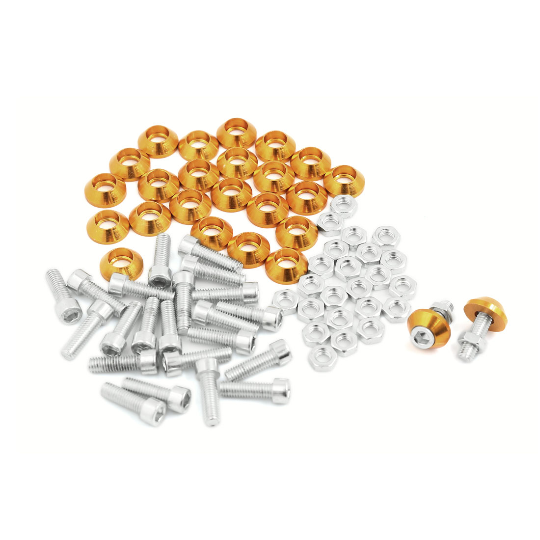 25pcs Gold Tone Cone Shaped License Plate Frame Screws Nuts M6 for Motocycle Car