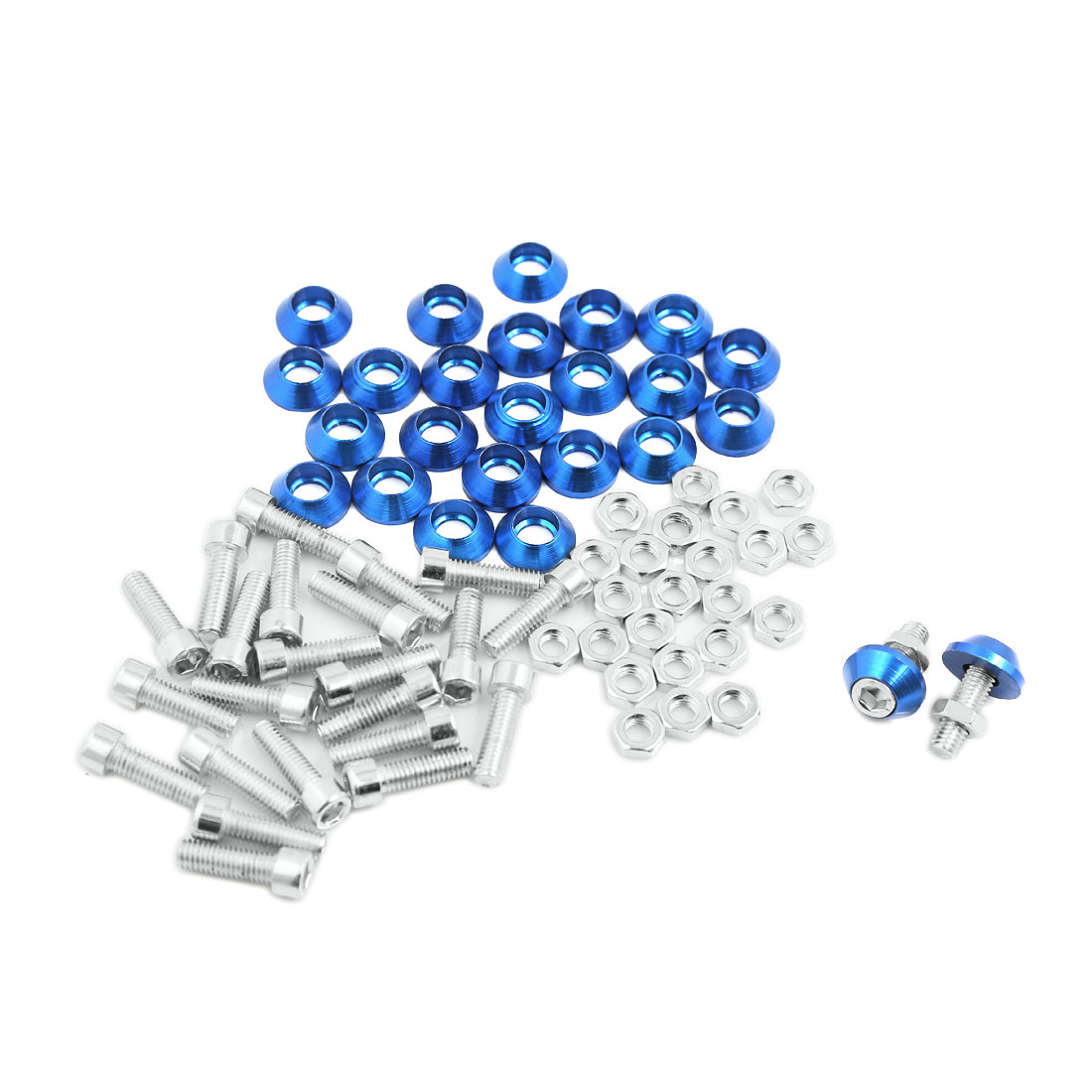 6mm Thread Dia Cone Head Motorcycle Truck License Plate Frame Screws Blue 25pcs