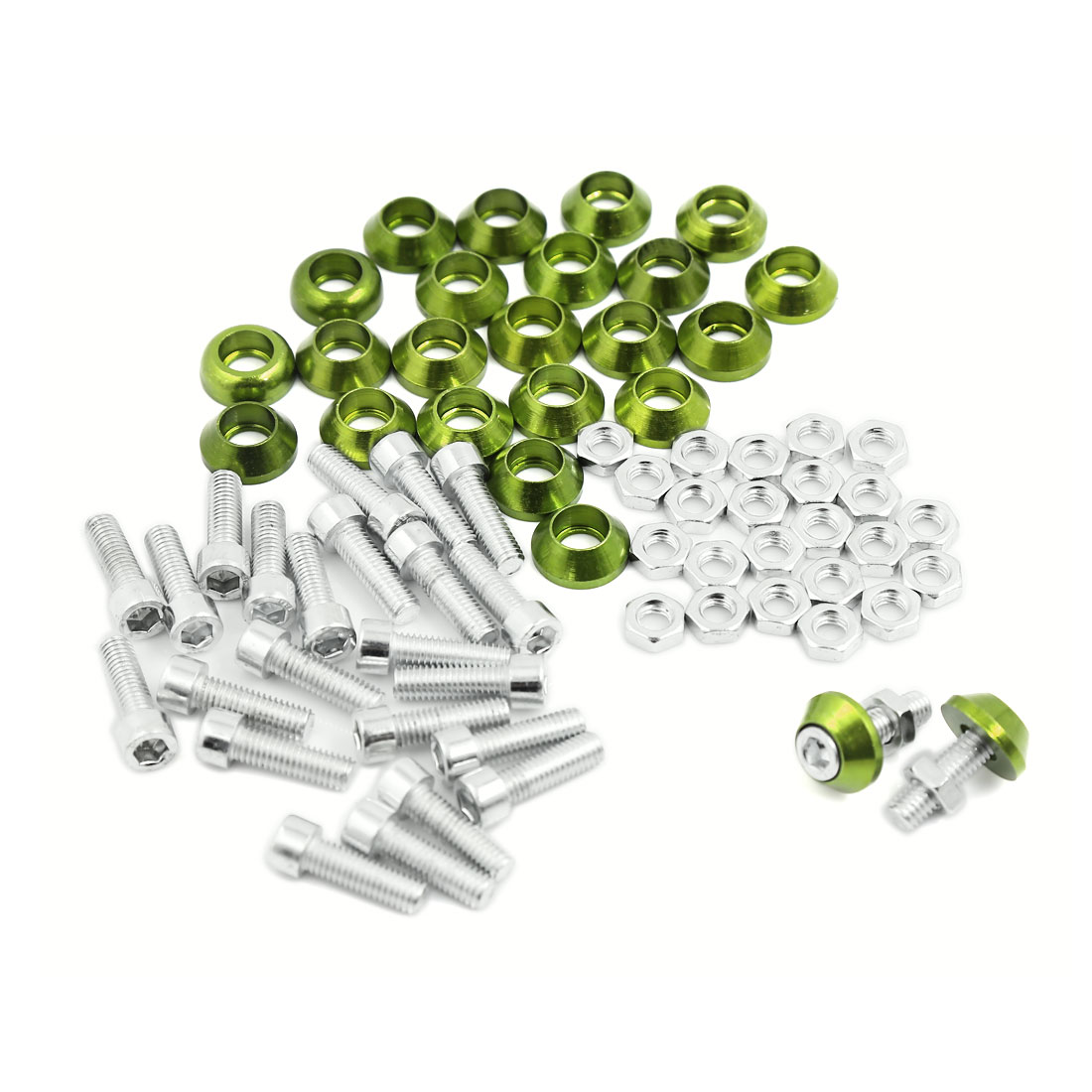 25 Pcs Green Metal Cone Shape License Plate Frame Screw Bolt Caps for Motorcycle