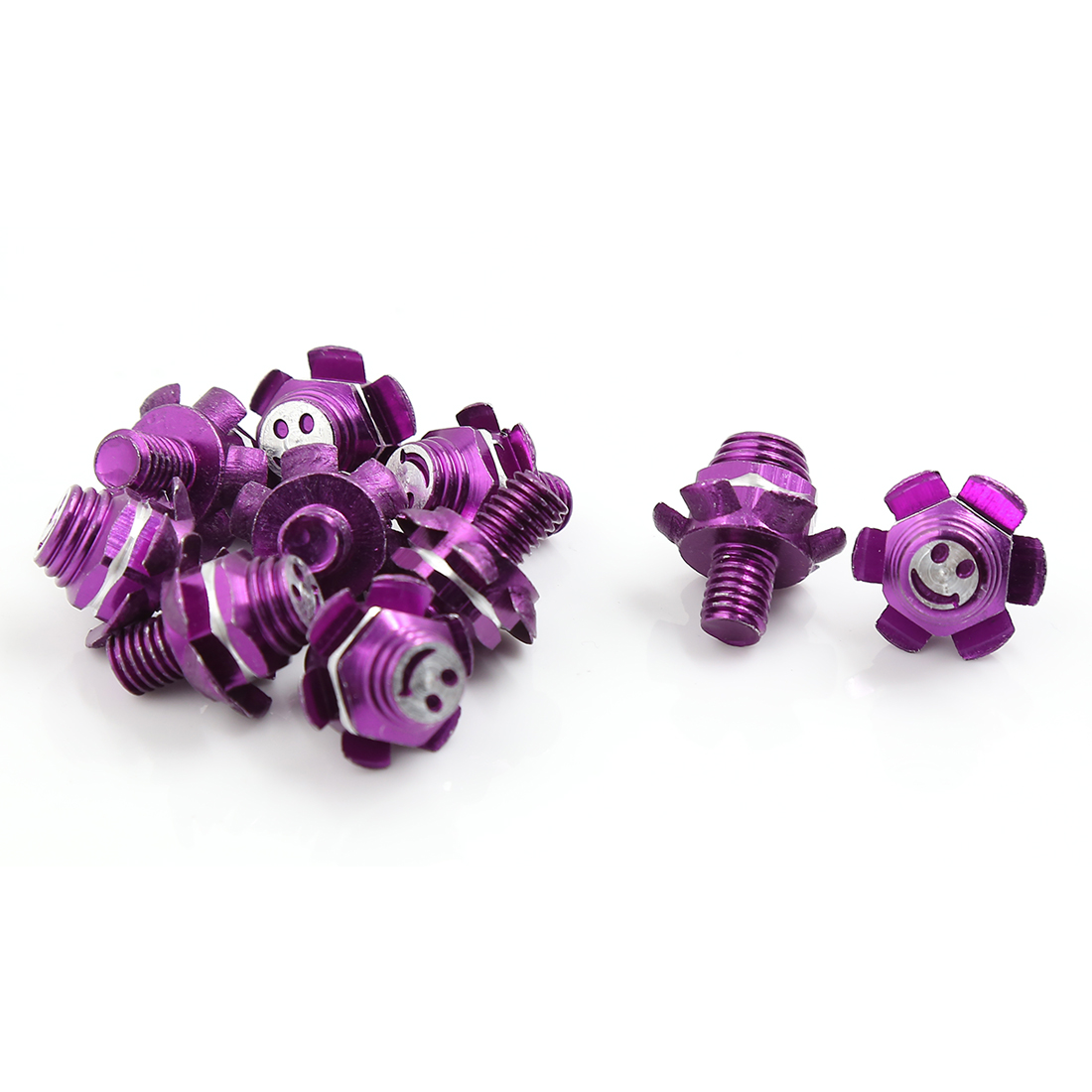 10 Pcs Purple Flower Shaped Smiling Face Print Motorcycle License Plate Frame Bolts Screws 24mm x 8mm