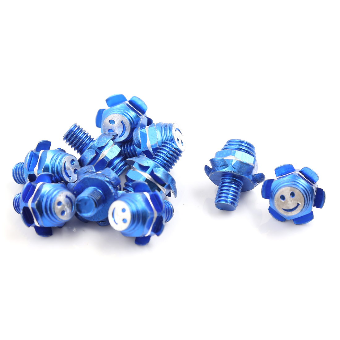 10 Pcs Blue Flower Shaped Motorcycle Car License Plate Frame Bolts Screws 8mm Thread Dia