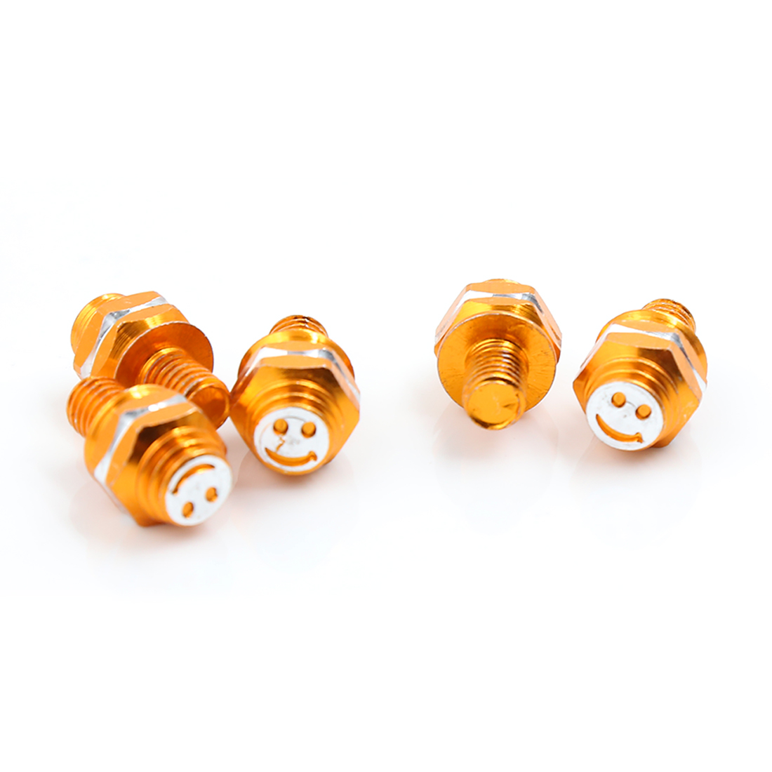 5pcs 8mm Thread Dia Smile Face Pattern License Plate Frame Bolt Screws Gold Tone