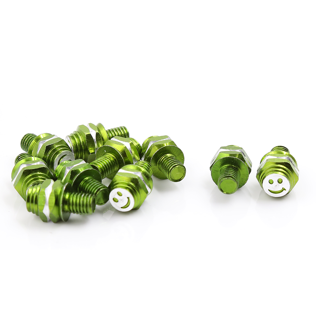 Green 8mm Thread Dia Smile Face Print Motorbike License Plate Bolt Screws 10 Pcs