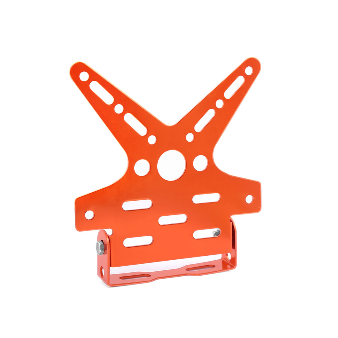 Motorbike Aluminum Alloy Swallow Tail Shaped License Plate Bracket Holder Orange