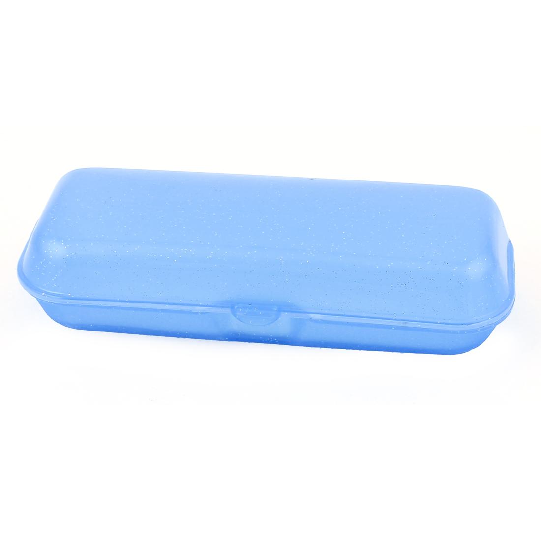 Plastic Glitter Dot Design Eyeglass Pouch Eyewear Case Light Blue