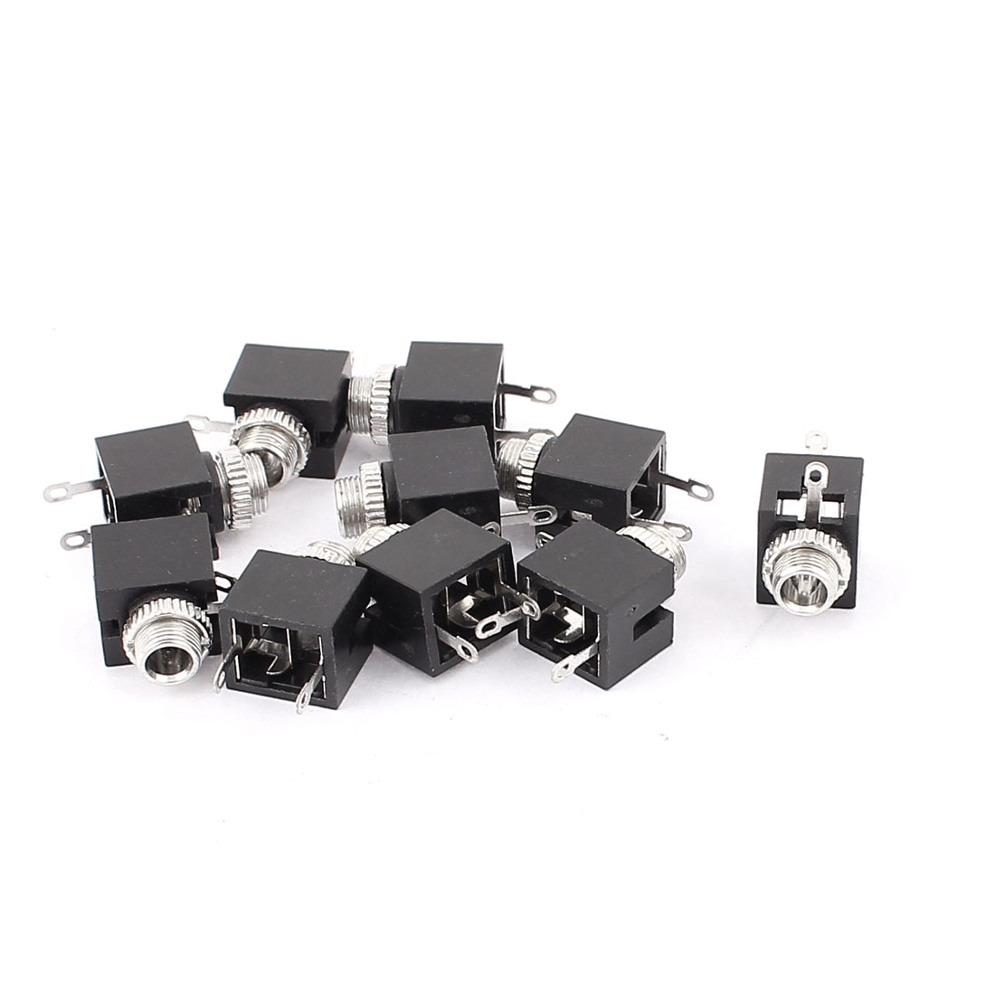 6mm Mouting Dia 3 Terminal Stereo Audio Jack Socket Connector 10pcs