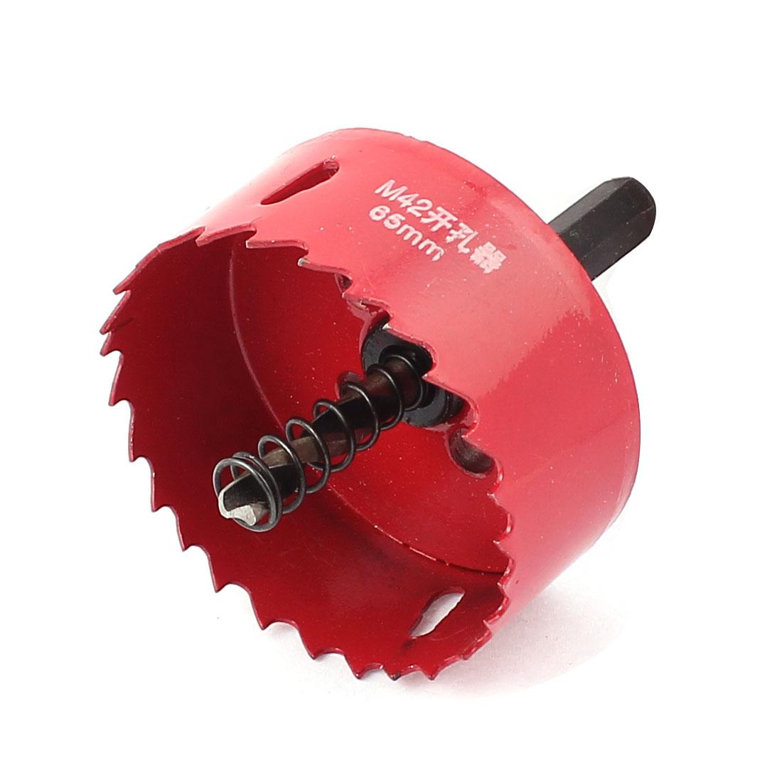 6mm Triangle Shank 65mm Dia Twist Drill Bit Metal Hole Saw Cutter