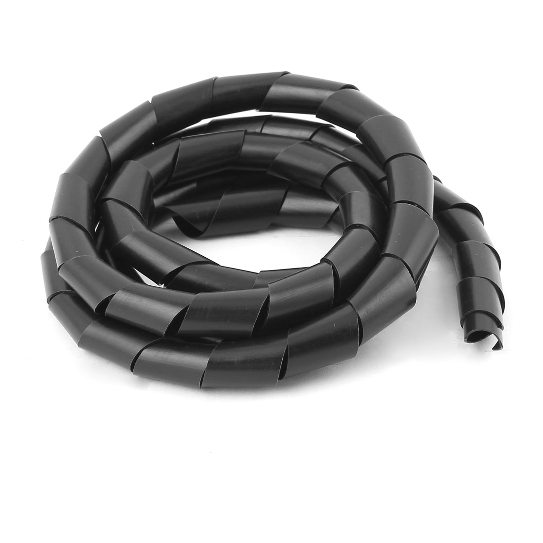 1.8M Long 14mm Dia Black Spiral Wrapping Band Cable Manager